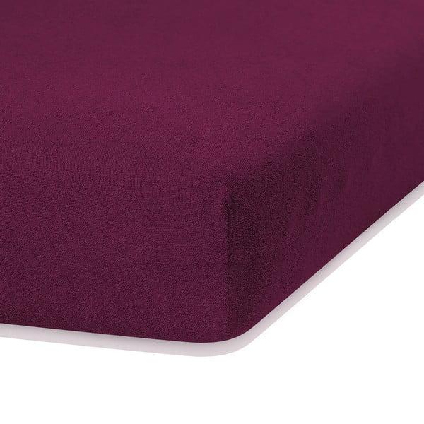 Tmavě fialové elastické prostěradlo s vysokým podílem bavlny AmeliaHome Ruby, 200 x 160-180 cm