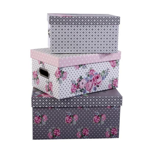 Sada 3 úložných krabic Sweet Flowers