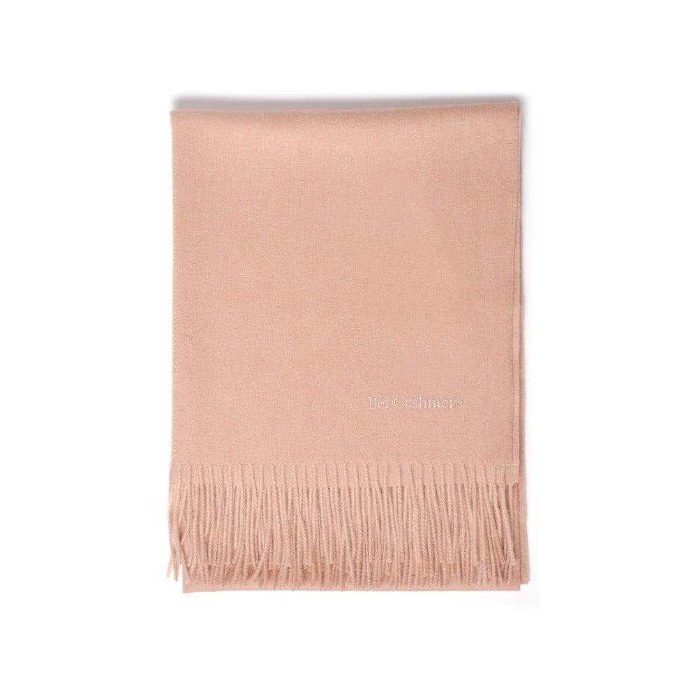 Světle růžová kašmírová šála Bel cashmere Lea, 200 x 70 cm