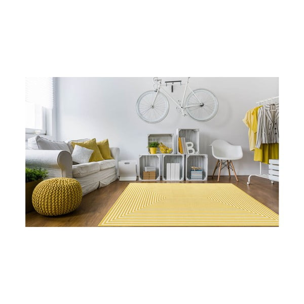 Žlutý vysoce odolný koberec vhodný do exteriéru Webtappeti Braid, 200x285cm