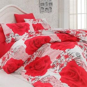 Sada povlečení a prostěradla Red Roses, 200x220 cm
