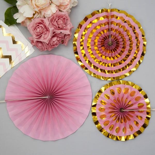 Sada 3 růžových papírových dekorací Neviti Pinwheel