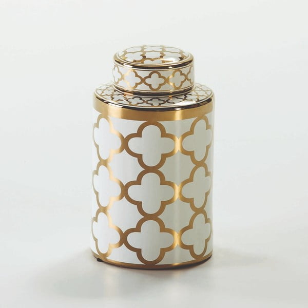 Bílá keramická dóza s detailem ve zlaté barvě Thai Natura