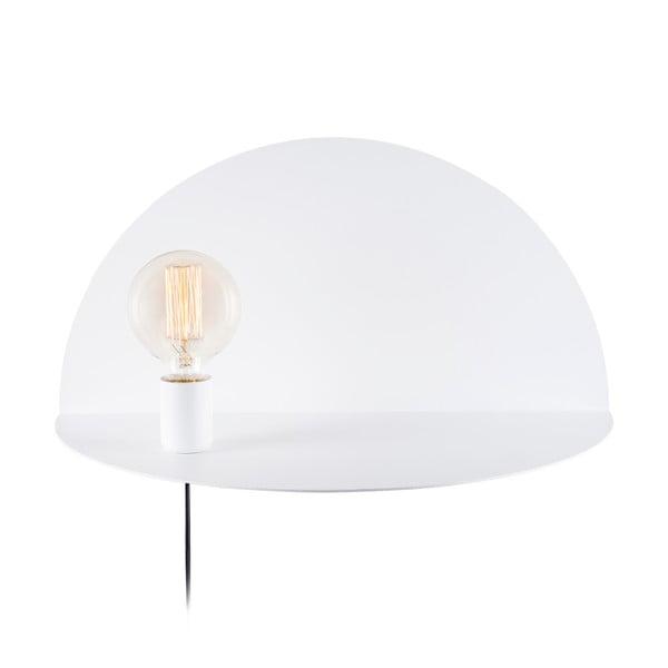 Bílá nástěnná lampa s poličkou Shelfie Cecile