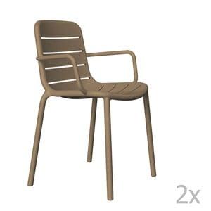 Sada 2 hnědých  zahradních židlí s područkami  Resol Gina