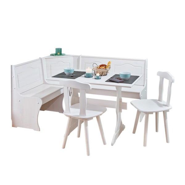Donau fehér sarokpad, étkezőasztal és 2 étkezőszék készlete - Interlink