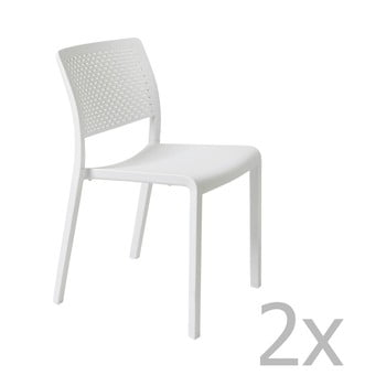Set 2 scaune de grădină Resol Trama Simple, alb