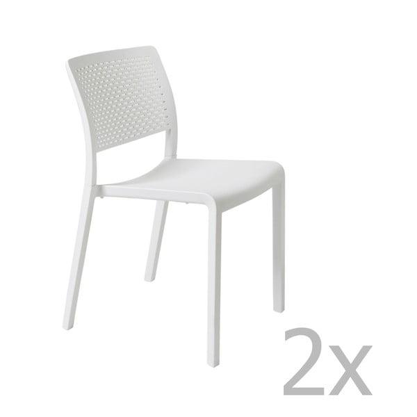 Sada 2 bílých zahradních židlí Resol Trama Simple