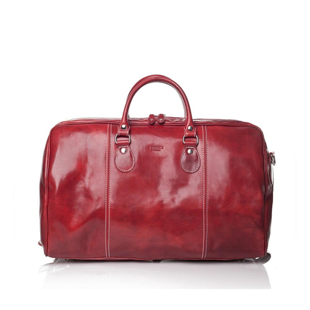 Červená kožená cestovní taška Medici of Florence Enrico