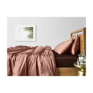 Béžové bavlněné povlečení na dvoulůžko s hnědým prostěradlem COSAS Karra, 200 x 220 cm