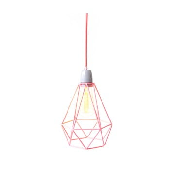 Lustră Filament Style Diamond #1, abajur roz, cablu roz de la Filament Style