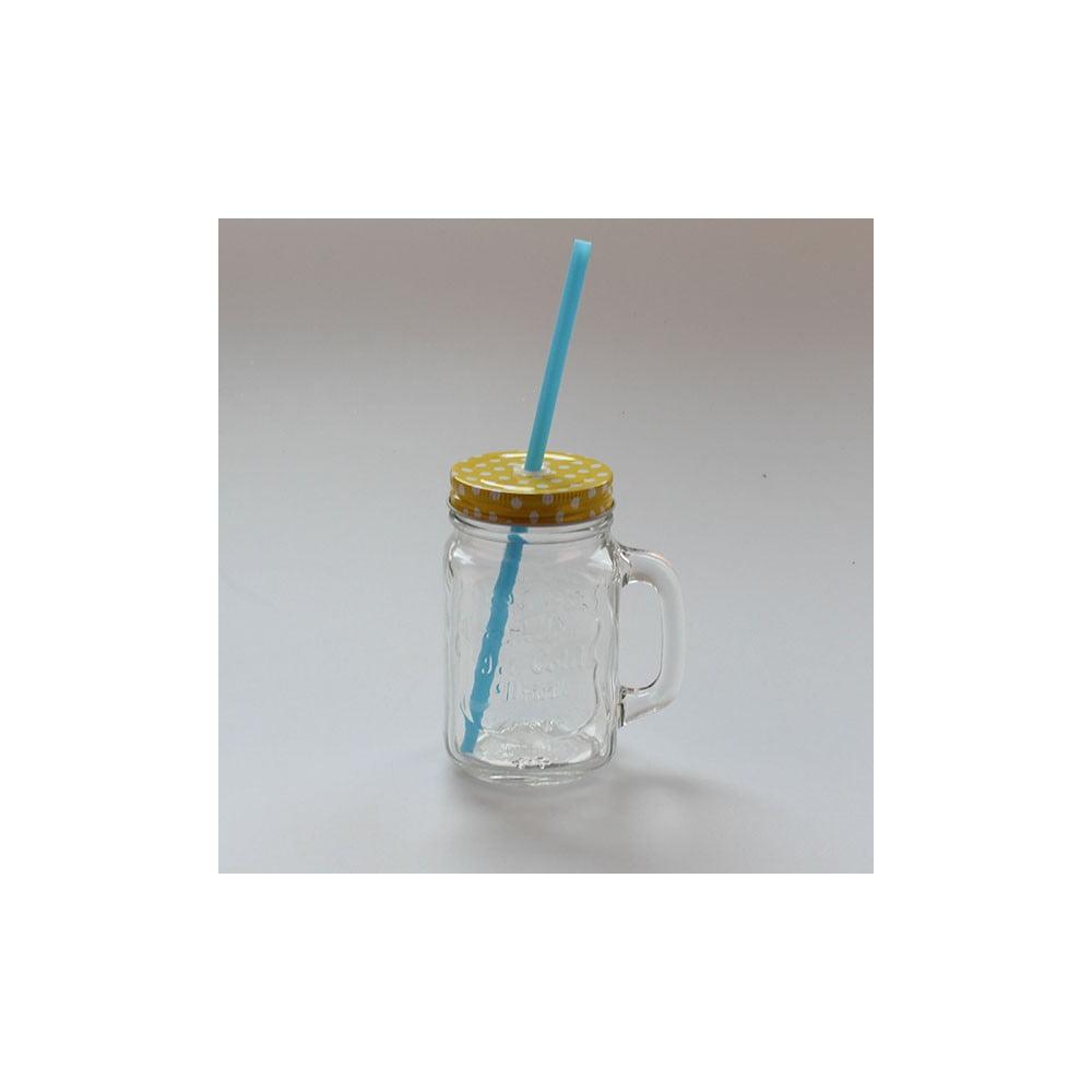 Sklenice se žlutým víčkem a modrým brčkem Dakls, 450 ml