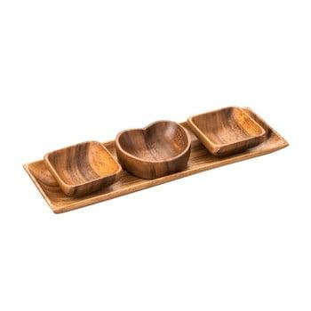 Set boluri cu tavă din lemn de salcâm Premier Housewares Acacia imagine
