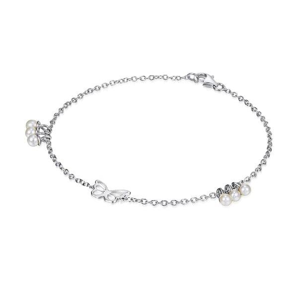 Stříbrný náramek s perlami a přívěskem Chakra Pearls Butterfly, 19cm