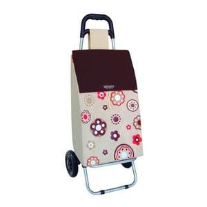 Nákupní taška na kolečkách Flower Beige, 45 l
