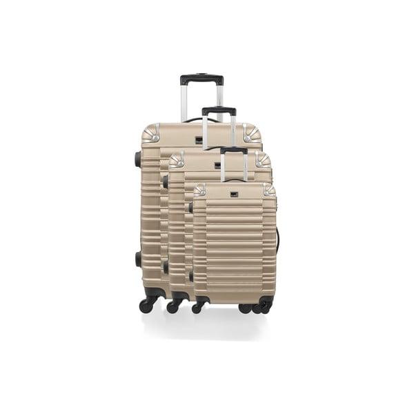 Sada 3 kufrů Brand Developpement Roues Cadenas Beige, 105 l/72 l/40 l