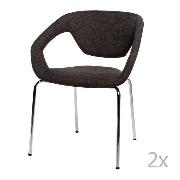 Sada 2 hnědých čalouněných židlí D2 Space