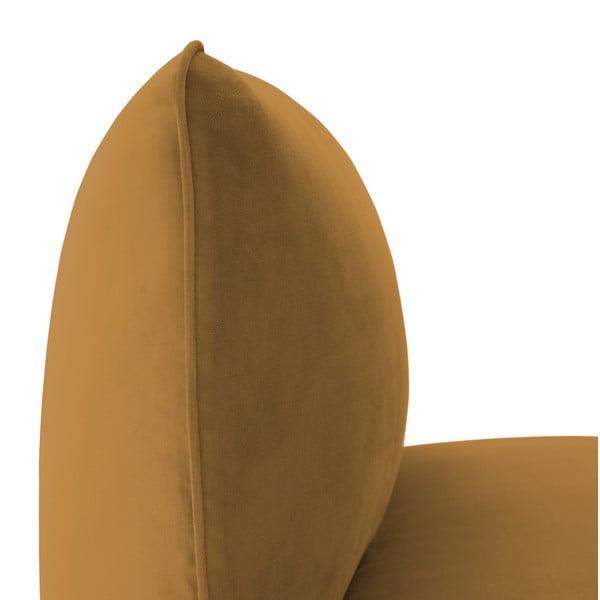 Hořčicově žlutý prostřední modul pohovky Vivonita Velvet Cube
