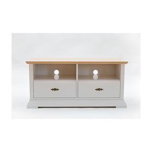 Bílá TV komoda s detaily z dubové dýhy a 2 zásuvkami Wermo Family Loviise