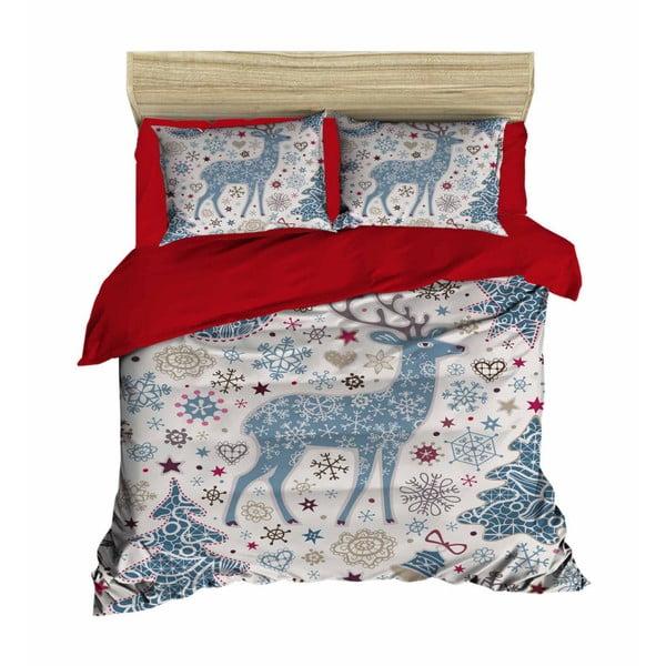 Lenjerie de pat cu cearșaf Christmas Reindeer Blue, 200 x 220 cm