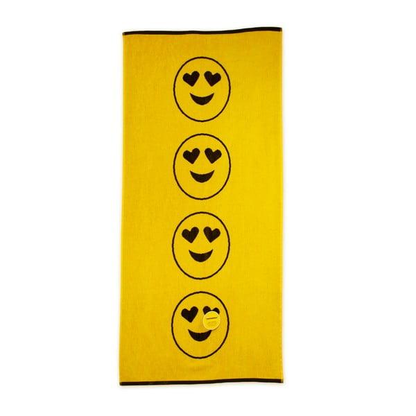 Prosop de plajă Bergner Emoticon, 75 x 150 cm, galben