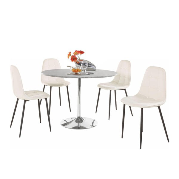 Sada kulatého jídelního stolu a 4 bílých židlí Støraa Terri Concrete