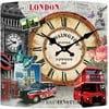 Skleněné hodiny Londýn, 34x34 cm