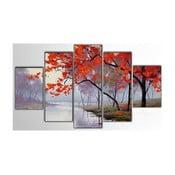 5dílný obraz Red Tree, 100x60 cm