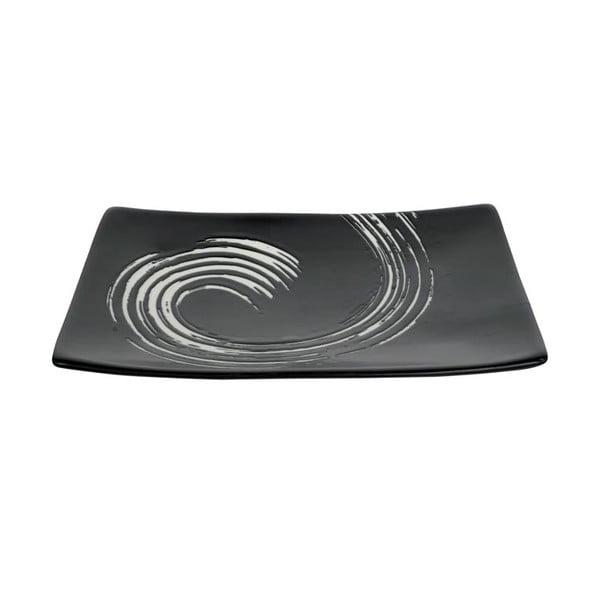 Černý obdélníkový talíř Tokyo Design Studio Maru, 20,5x14cm