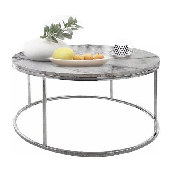 Konferenční stolek s deskou v mramorovém dekoru Støraa Megan, Ø50cm
