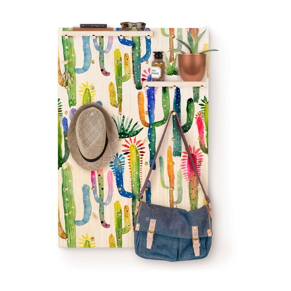 Pegboard Watercolor Cactus borovi fenyő polcos fogas - Surdic