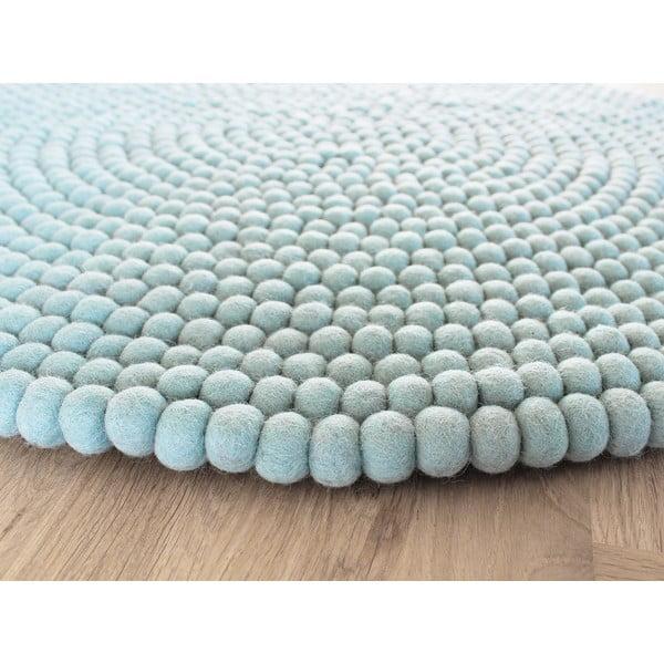 Pastelově modrý kuličkový vlněný koberec Wooldot Ball Rugs, ⌀ 90 cm