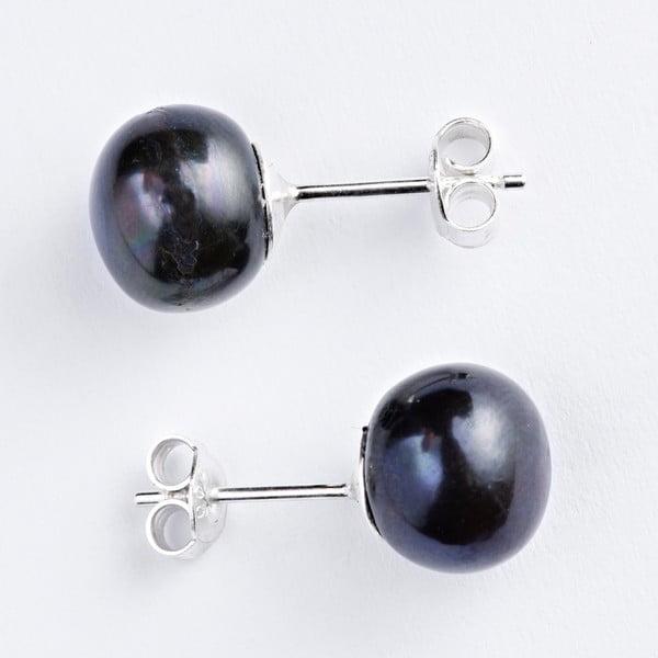 Stříbrné náušnice s černými perlami 11 mm