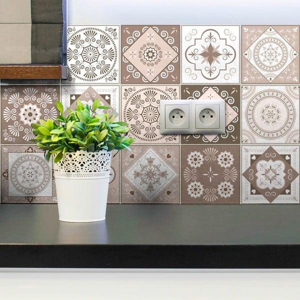 Sada 15 dekoratívnych samolepiek na stenu Ambiance Ezeiza, 15×15 cm