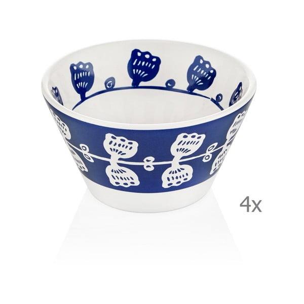 Sada 4 modro-bílých porcelánových misek Mia Bloom, ⌀ 10 cm