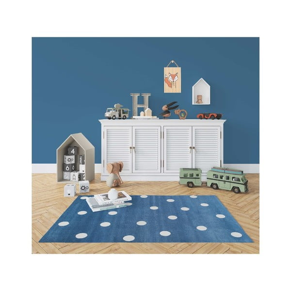 Modrý koberec s puntíky KICOTI Blue, 133 x 190 cm