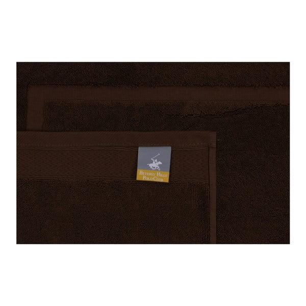Sada dvou hnědých koupelnových předložek s obdélníkovým detailem Beverly Hills Polo Club, 86x 50cm