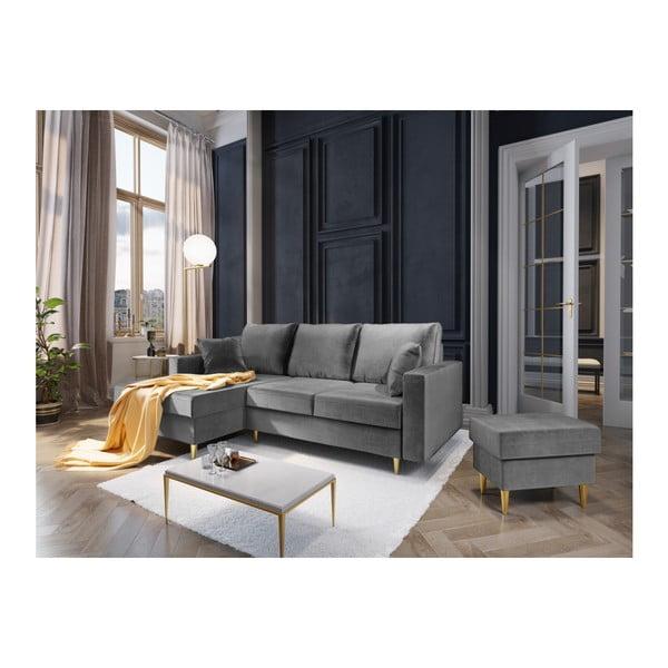 Světle šedý puf Mazzini Sofas Muguet, 60 x 45 cm