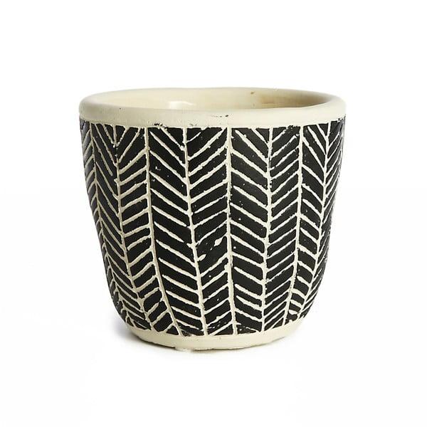 Czarna doniczka ceramiczna Simla Fishbone, wys. 11 cm