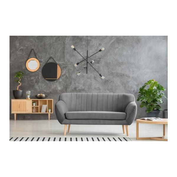 Canapea cu 2 locuri și picioare de culoare deschisă Mazzini Sofas Sardaigne, gri