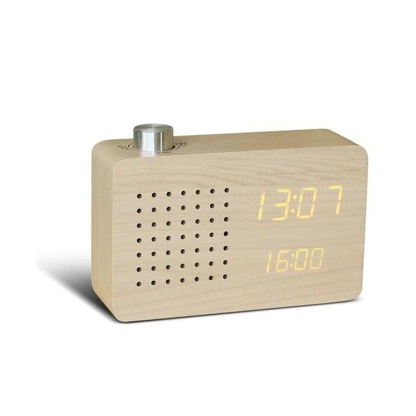 Beżowy budzik z żółtym wyświetlaczem LED i radiem Gingko Radio Click Clock
