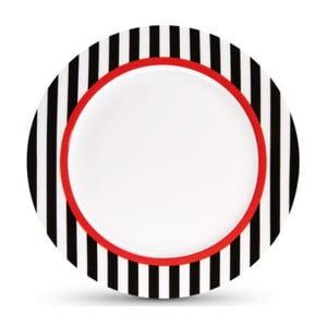 Talíř z kostního porcelánu Remember Black Stripes, ⌀ 21 cm