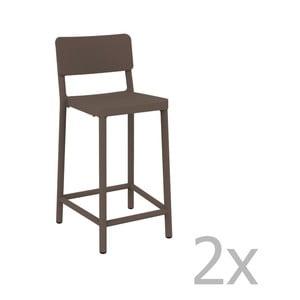 Sada 2 čokládově hnědých barových židlí vhodných do exteriéru Resol Lisboa Simple, výška 92,2 cm