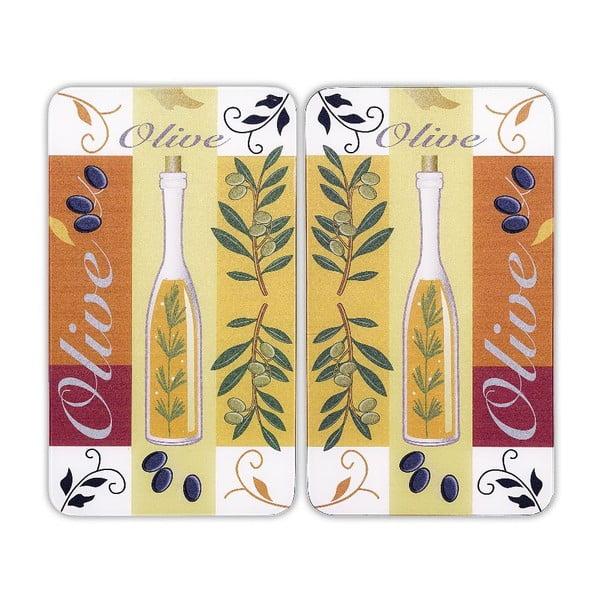 Skleněný kryt na sporák Olive, 2 ks