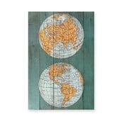 Dřevěná nástěnná dekorativní cedule Surdic Tabla The World, 40 x 60 cm