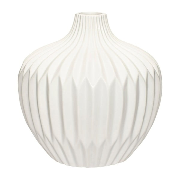 Vază din ceramică Hübsch Kjeld, înălțime 21 cm, alb