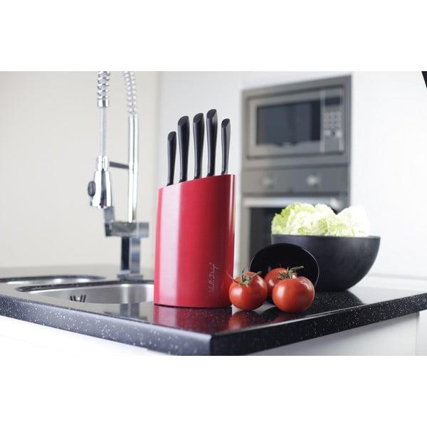 Červený stojan s pěti noži Vialli Design