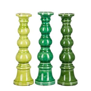 Sada 3ks svícnů Green Balls, 14x14x36 cm