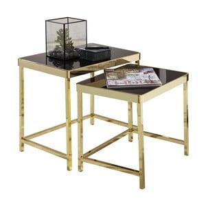 Sada 2 černých příručních stolků s nohami ve zlaté barvě Skyport Wohnling Viola