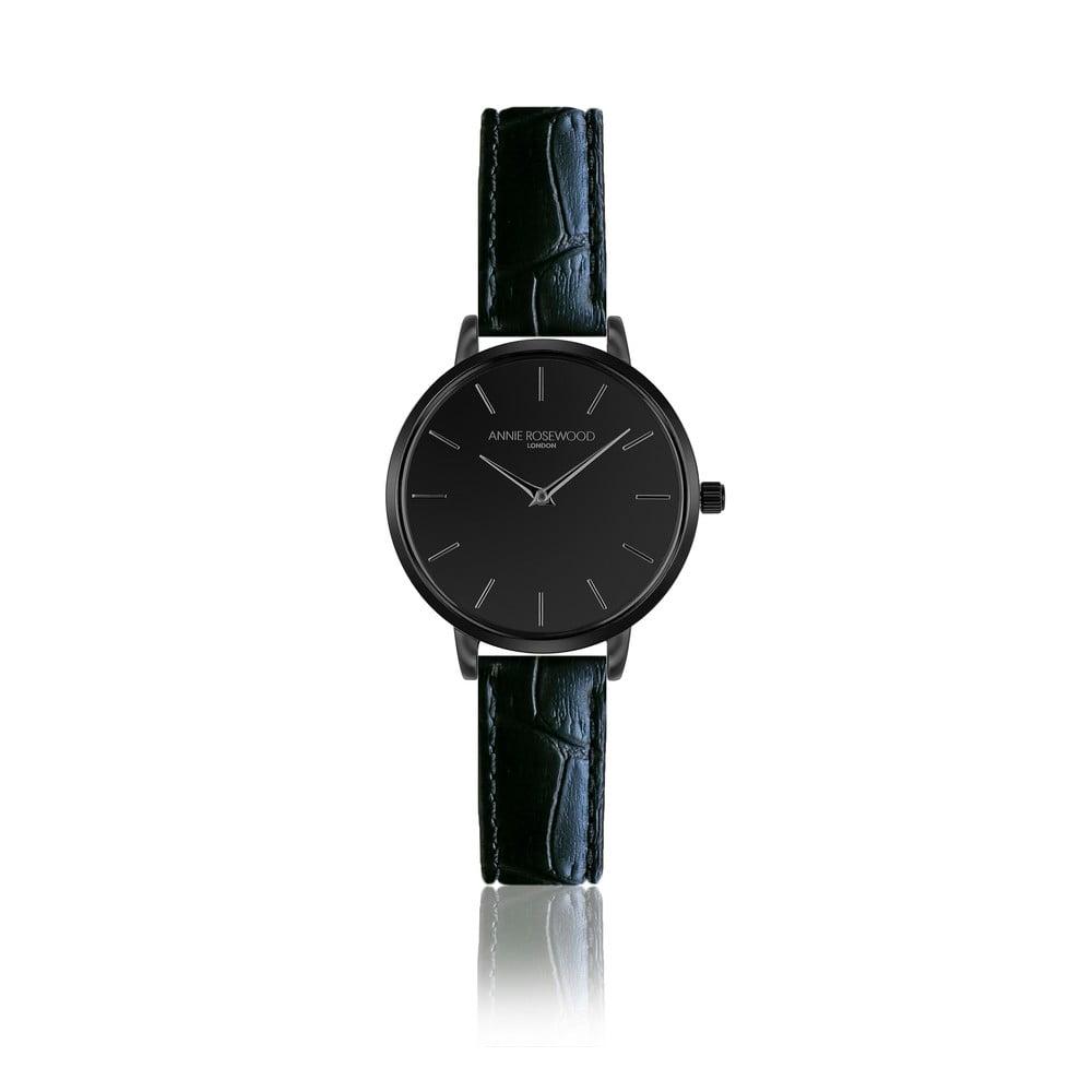 Černé hodinky skoženým řemínkem Annie Rosewood Croc Knight